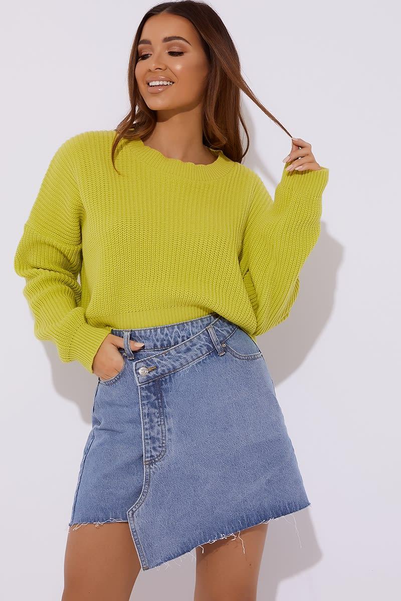 blue asymmetric denim skirt