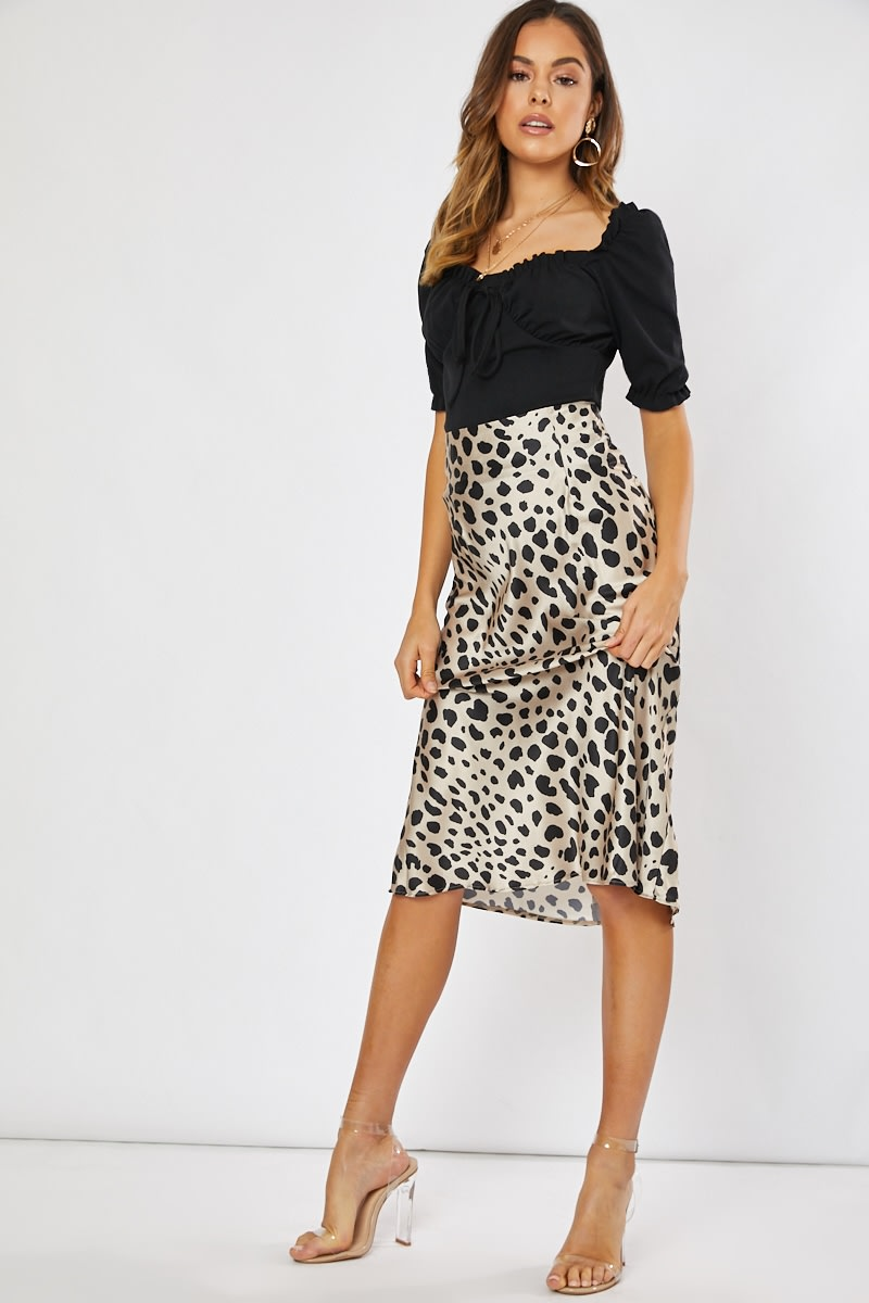 brown leopard print satin slip skirt