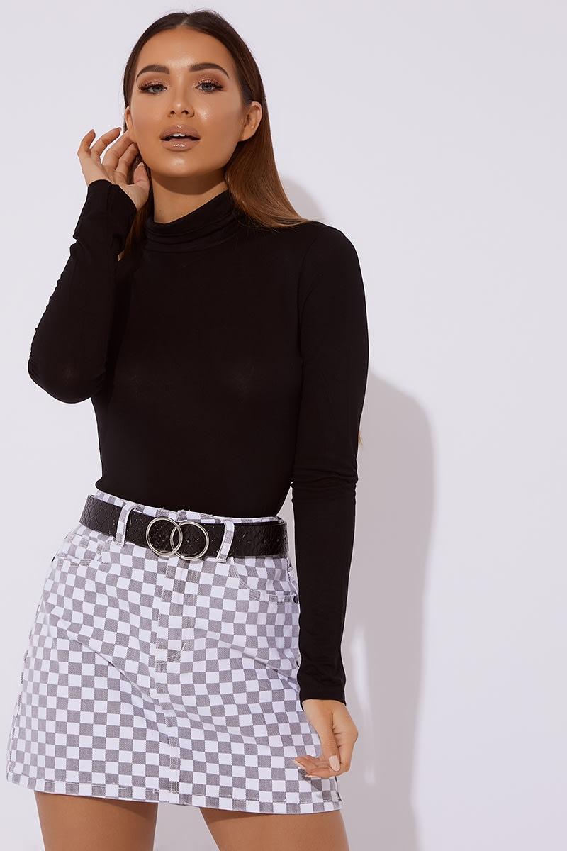 grey checkered denim skirt
