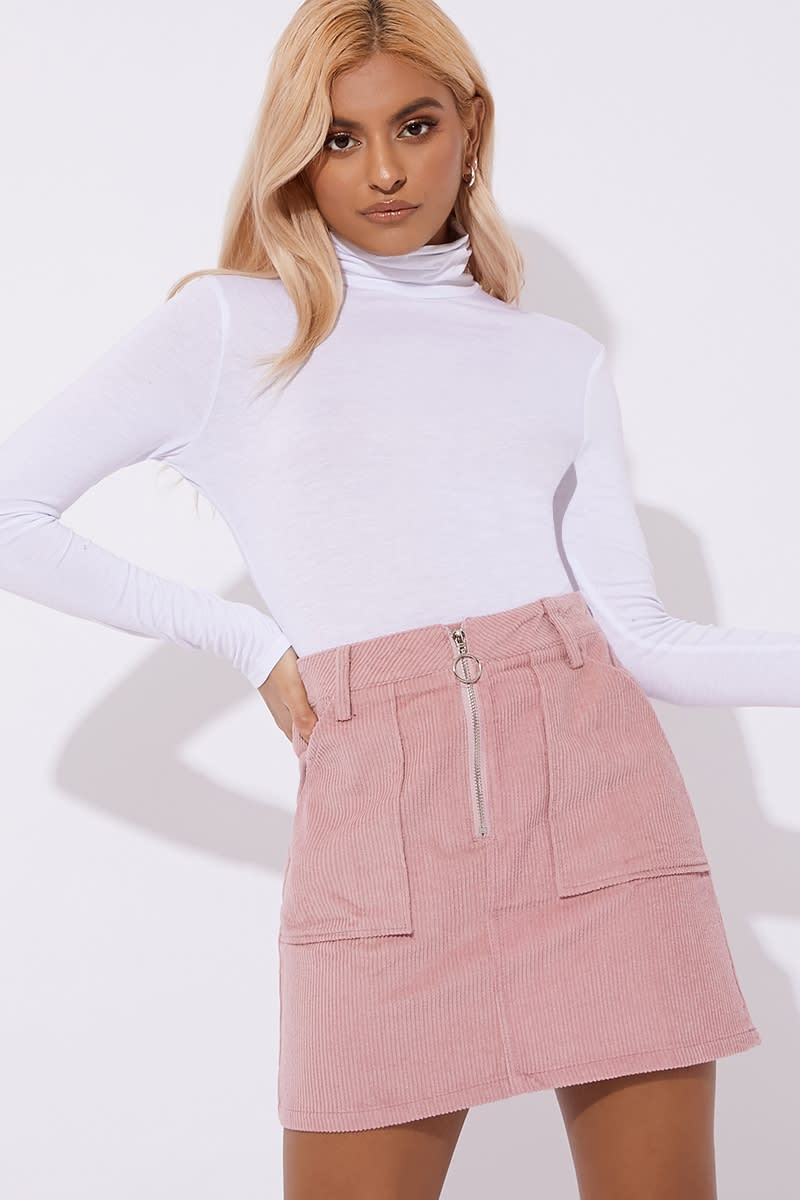 pink cord zip detail co-ord skirt