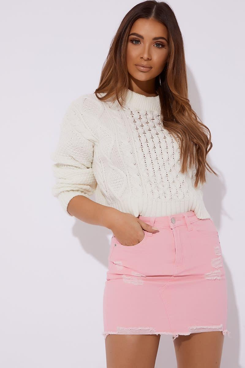 pink distressed denim skirt