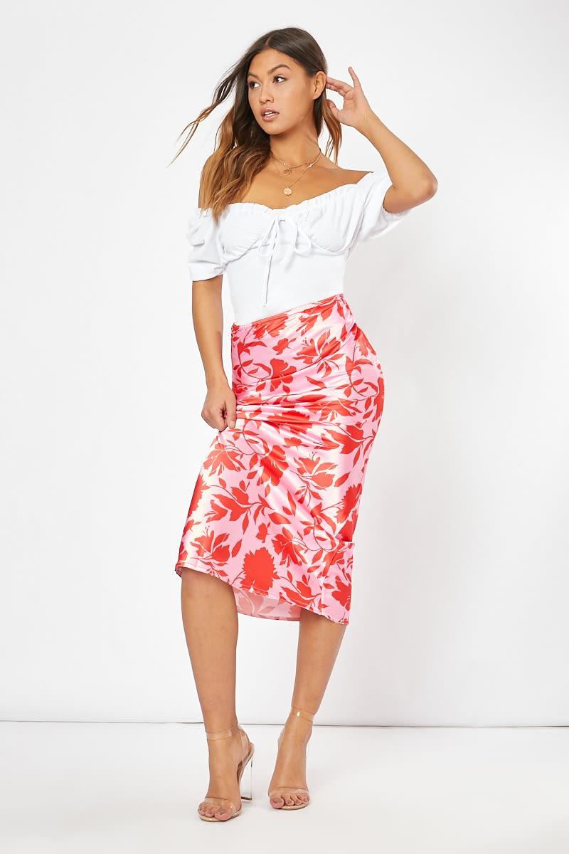 pink floral satin midi skirt