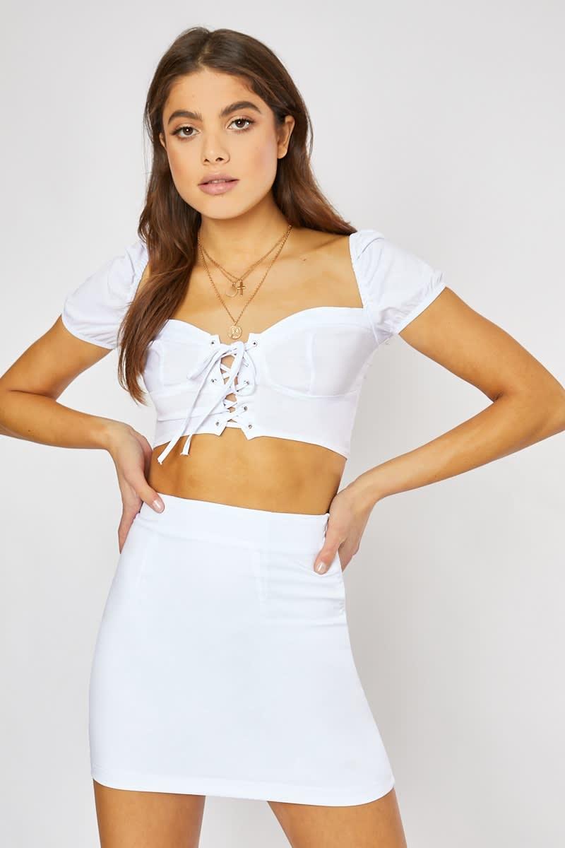 white bodycon mini skirt
