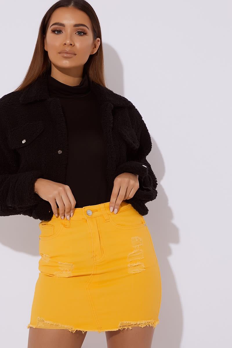 yellow distressed denim skirt