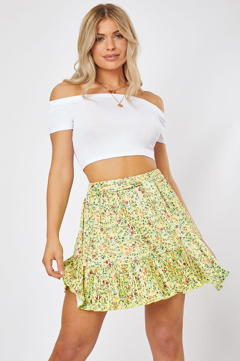 yellow ditsy floral print frill hem mini skirt