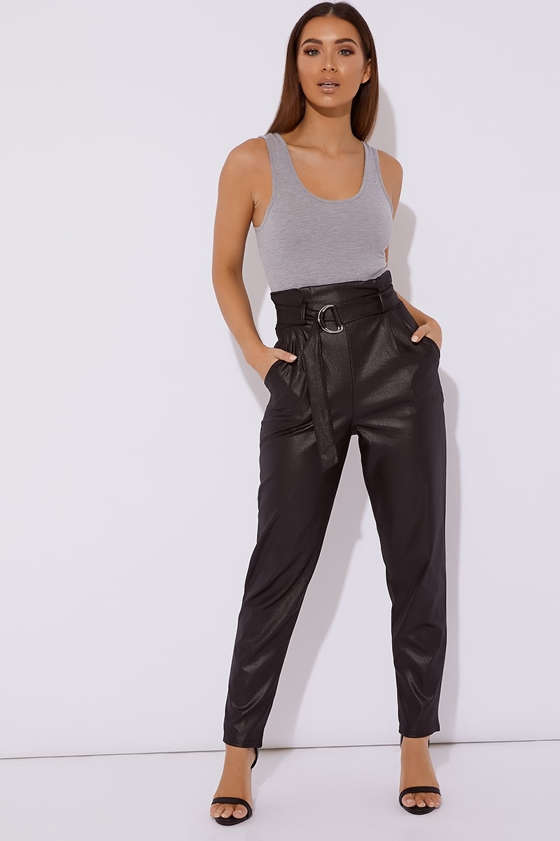 black wet look belted trousers