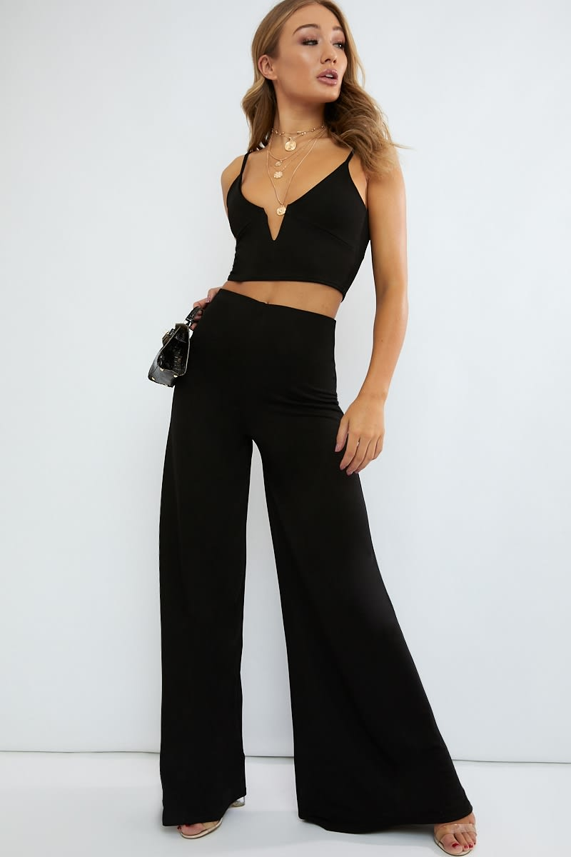 black extreme wide leg co ord trousers