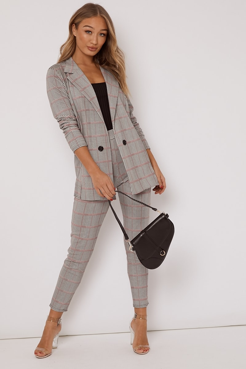 black and pink dogtooth check co ord trousers