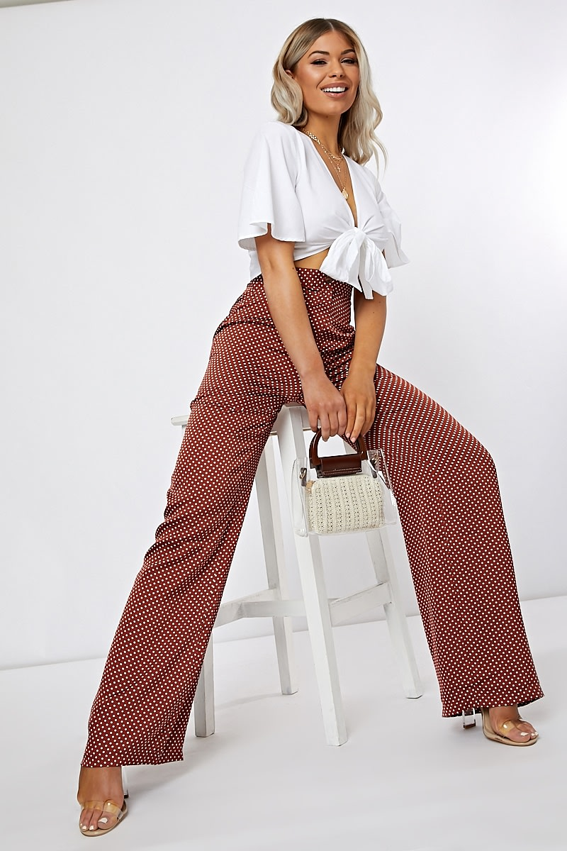 rust polka dot wide leg trousers