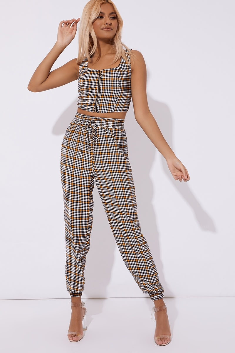yellow check drawstring co-ord trousers