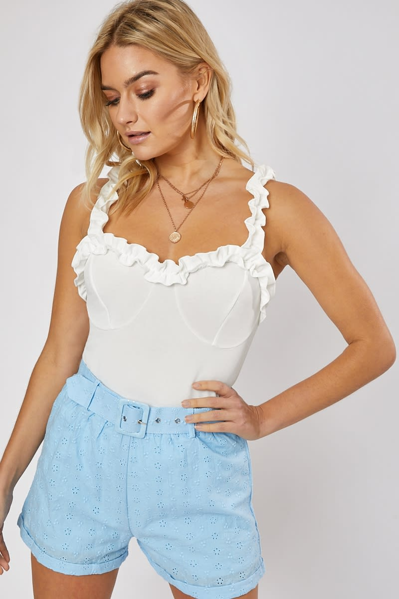 blue broderie anglaise belted shorts