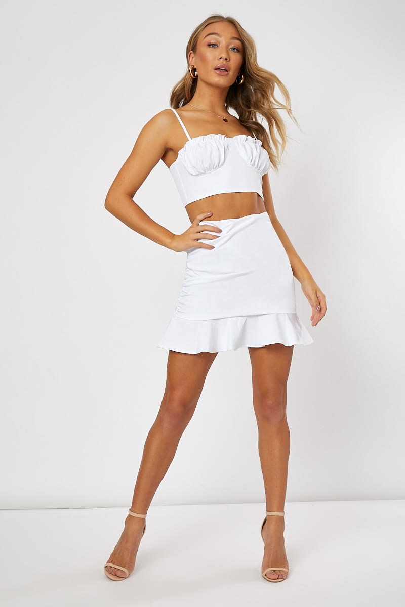 white ruched side frill hem co-ord mini skirt