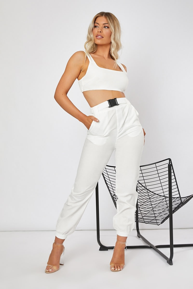 white cargo buckle co-ord trousers