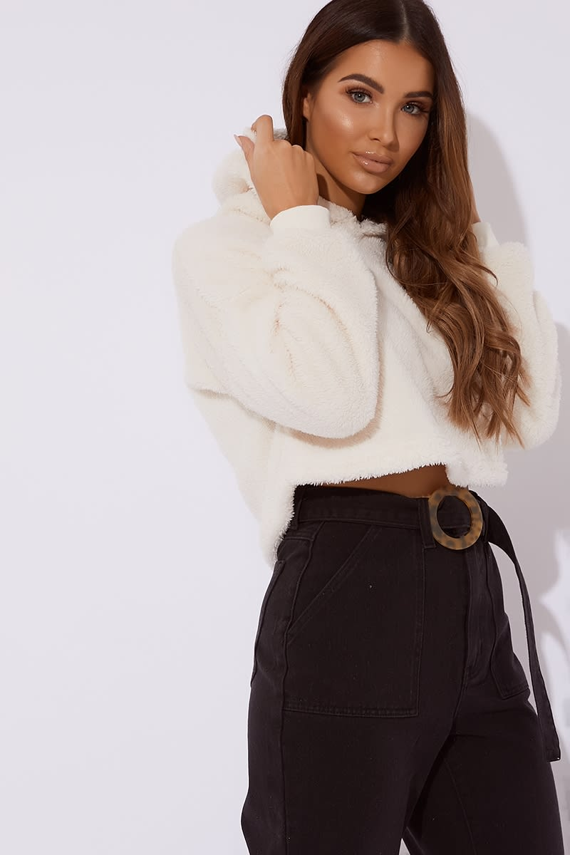 cream fur cropped hooded sweater