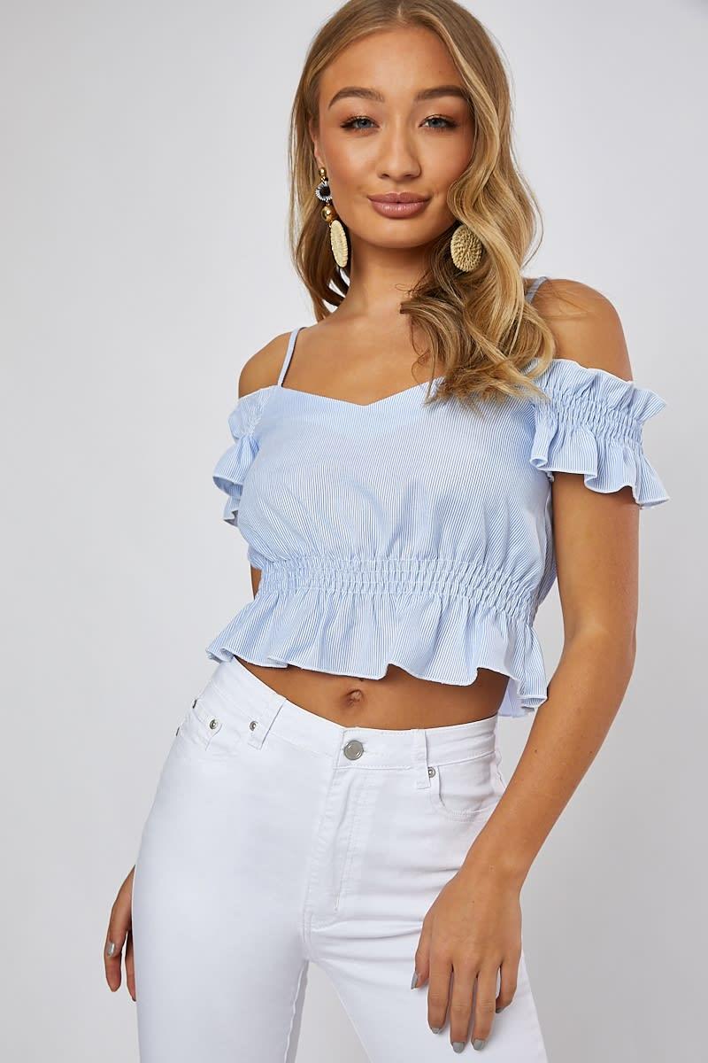 blue stripe cold shoulder top
