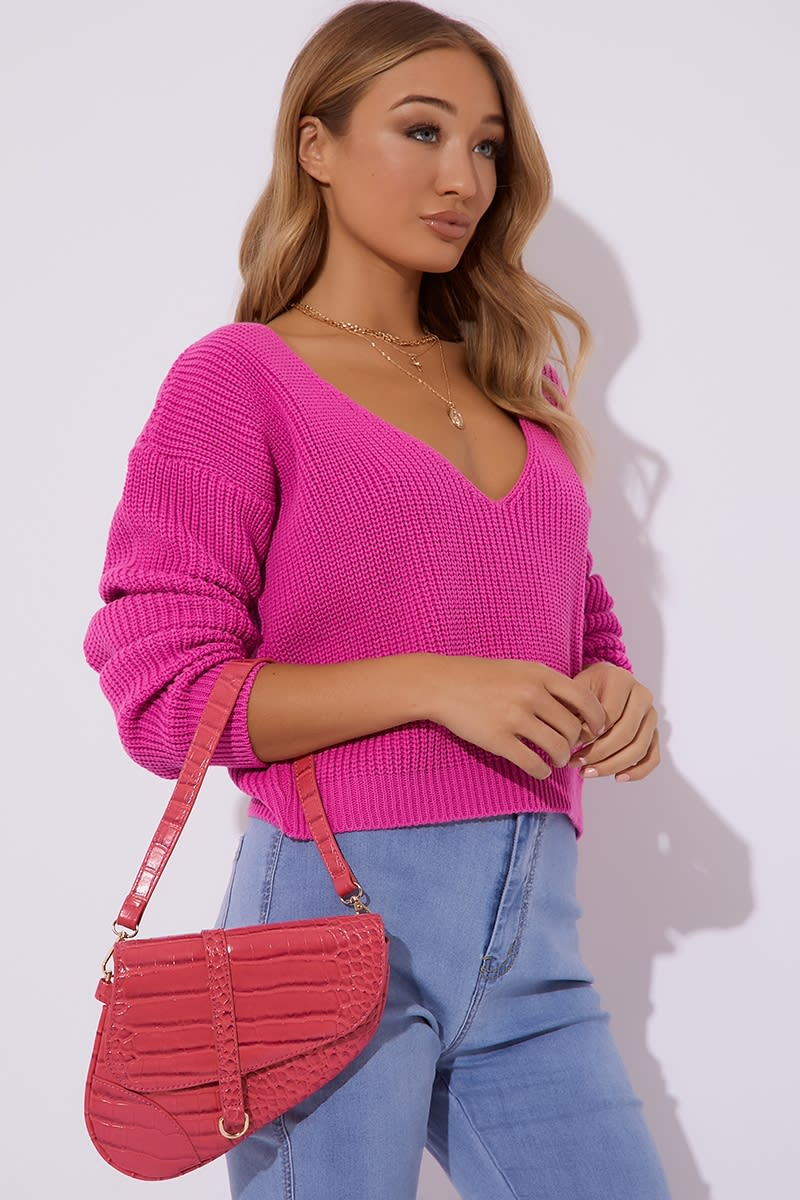 FUCHSIA FAUX CROC BAG