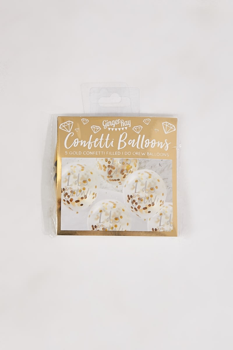 GINGER RAY GOLD 5 PACK  I DO CREW PRINTED CONFETTI BALLOONS