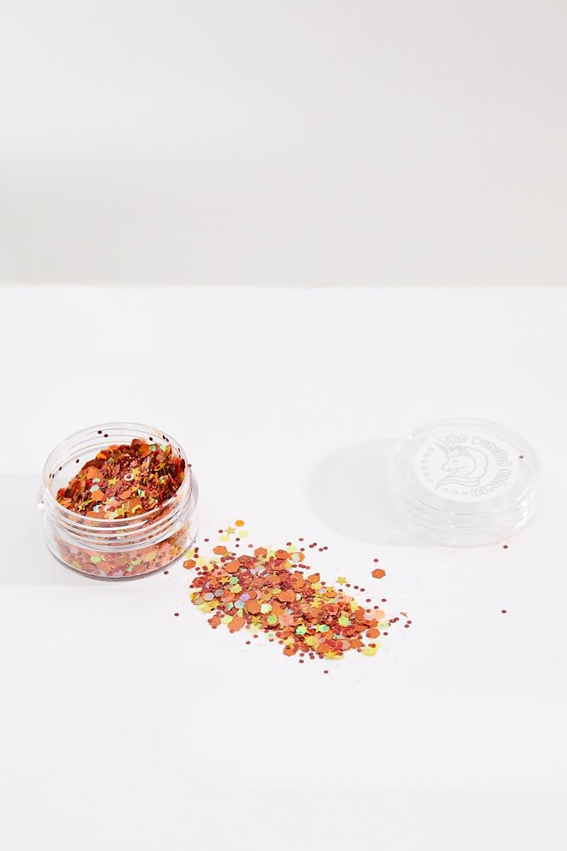 orange glitter pot