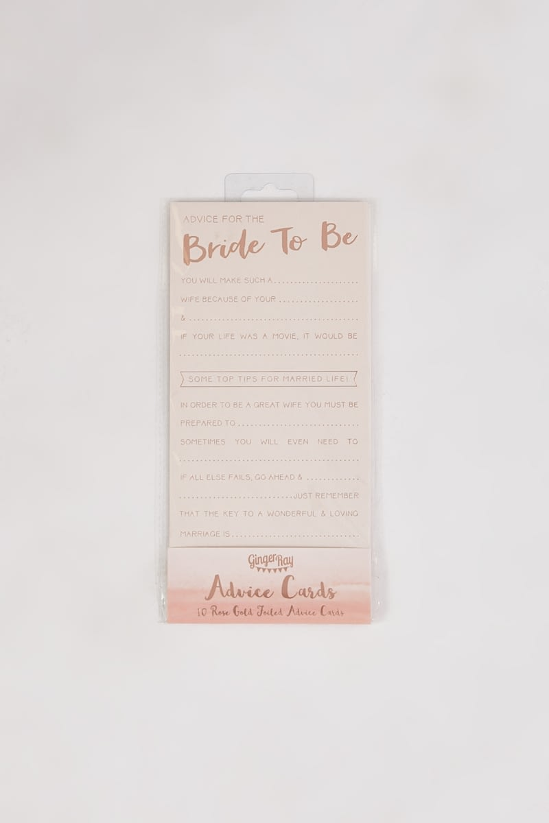 GINGER RAY PINK AND ROSE GOLD ADVICE FOR THE BRIDE TO BE CARDS
