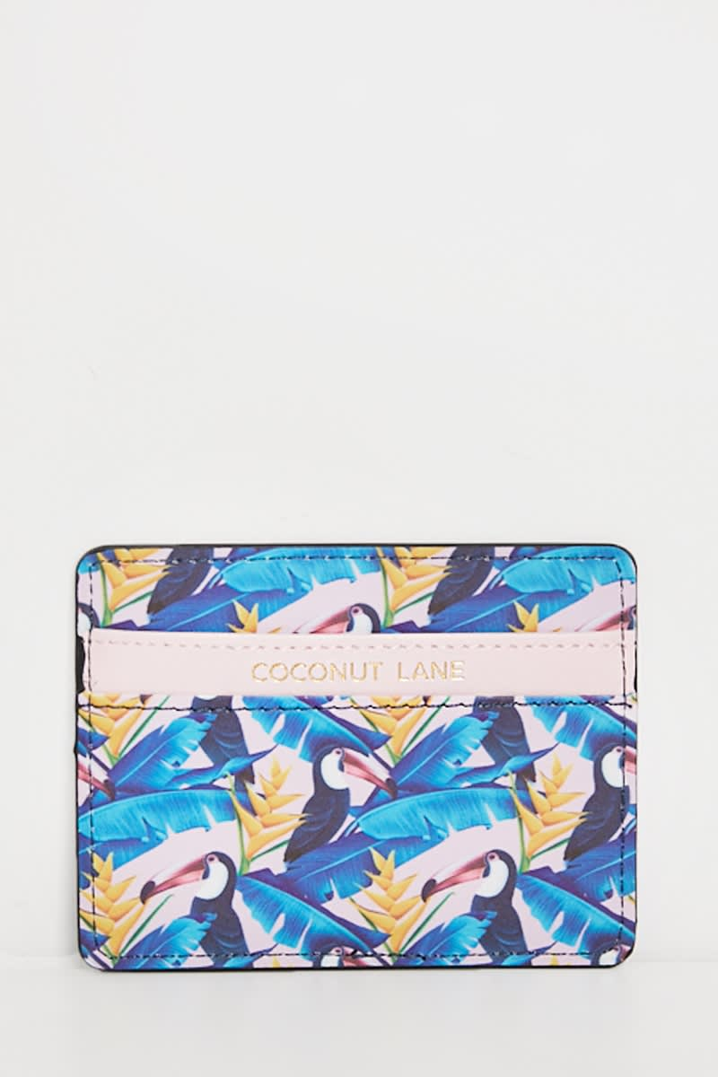 COCONUT LANE PINK TOUCAN PRINT CARD HOLDER