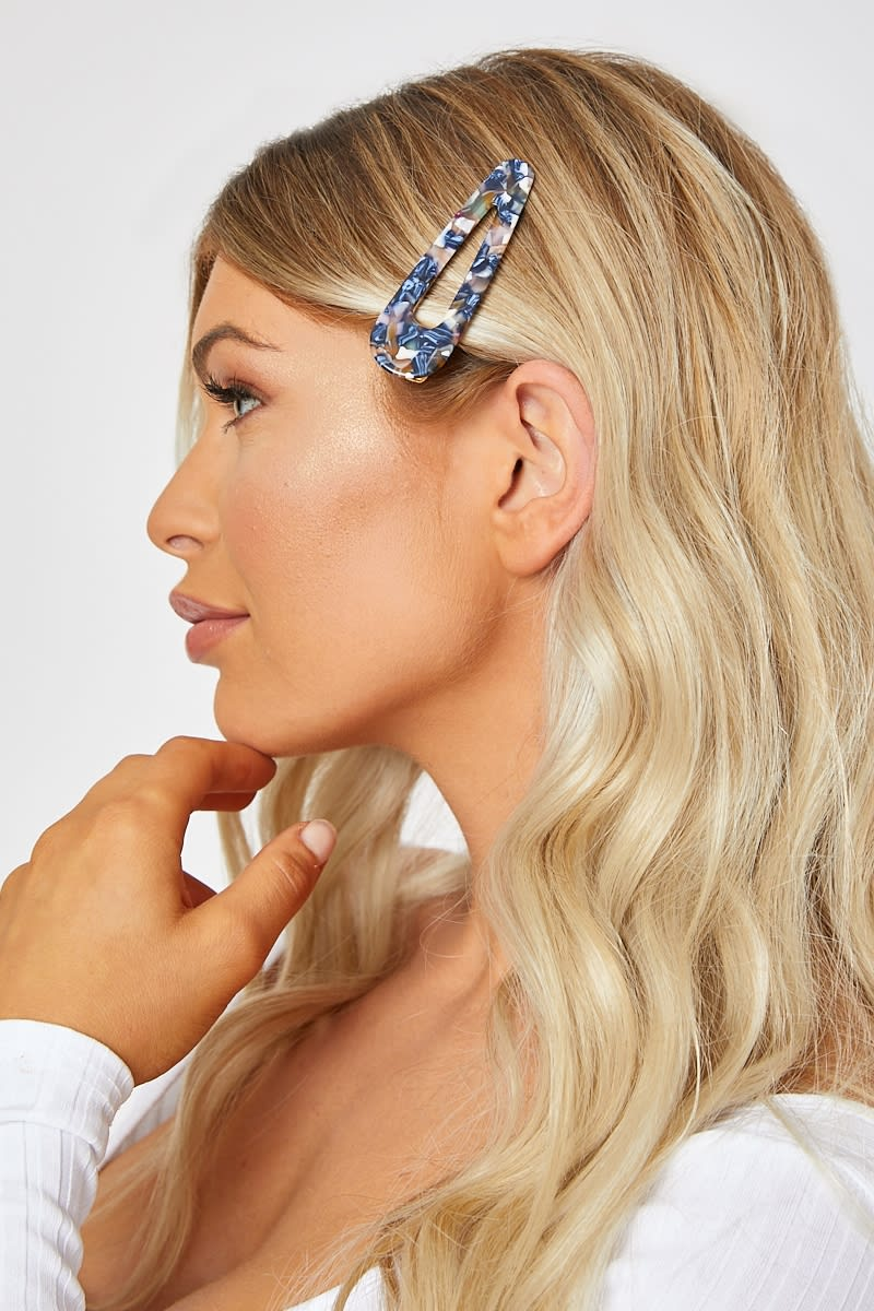 BLUE MULTI MARBLE HAIR CLIP