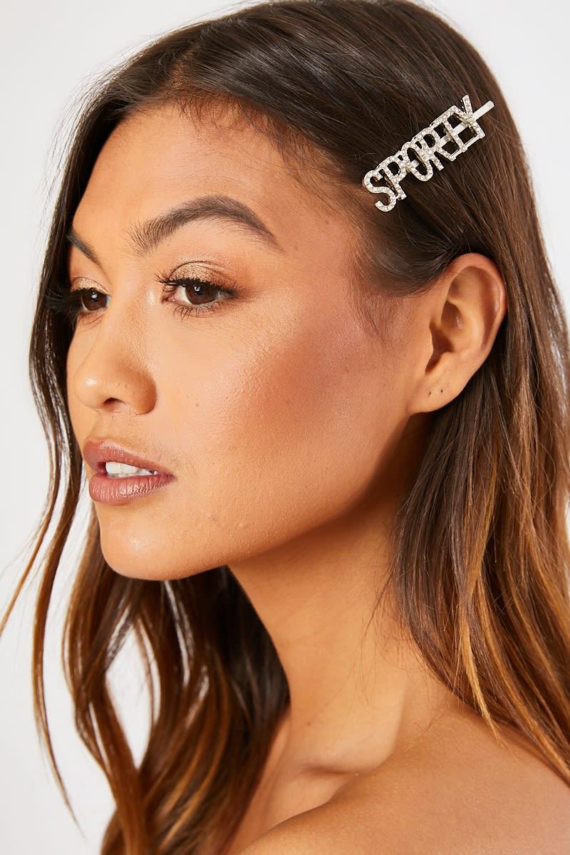 SPORTY SILVER SPICE GIRLS CRYSTAL HAIR CLIP