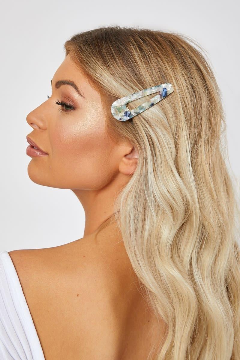 WHITE MULTI MARBLE HAIR CLIP