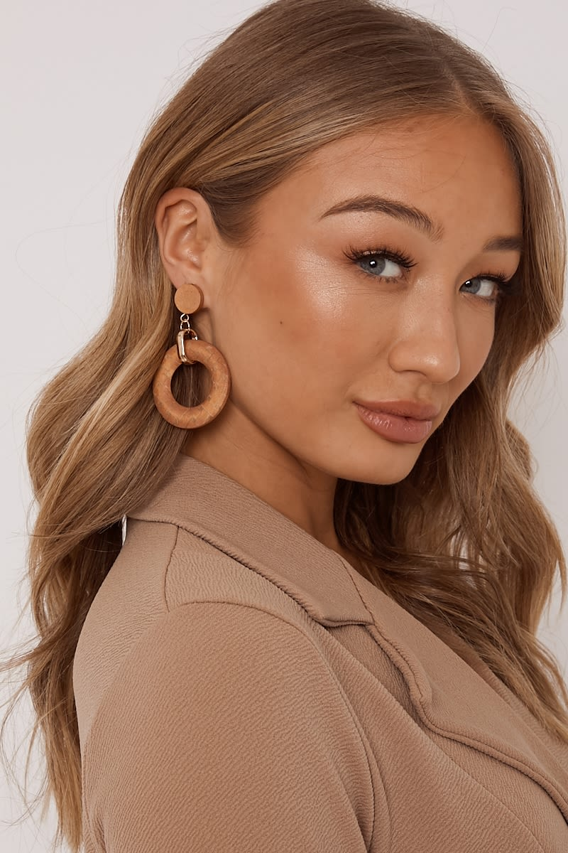 BROWN ROUND EARRINGS