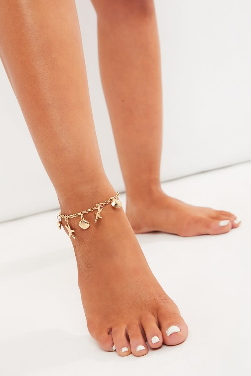 GOLD STAR & SHELL ANKLET
