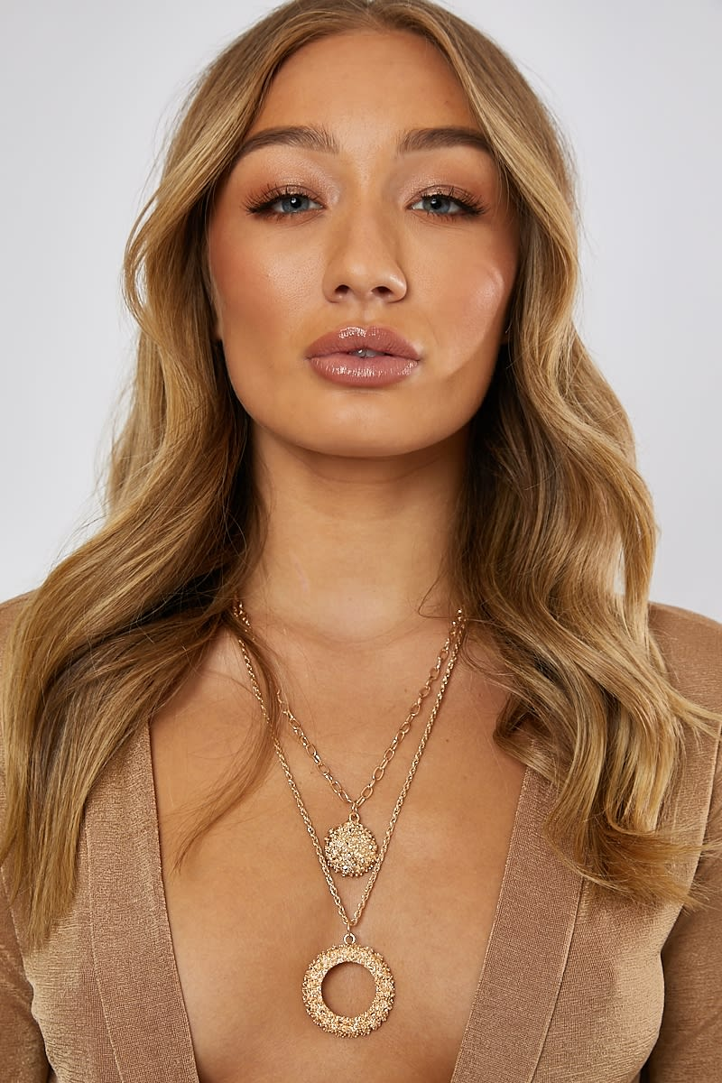 GOLD DOUBLE LAYERED O NECKLACE