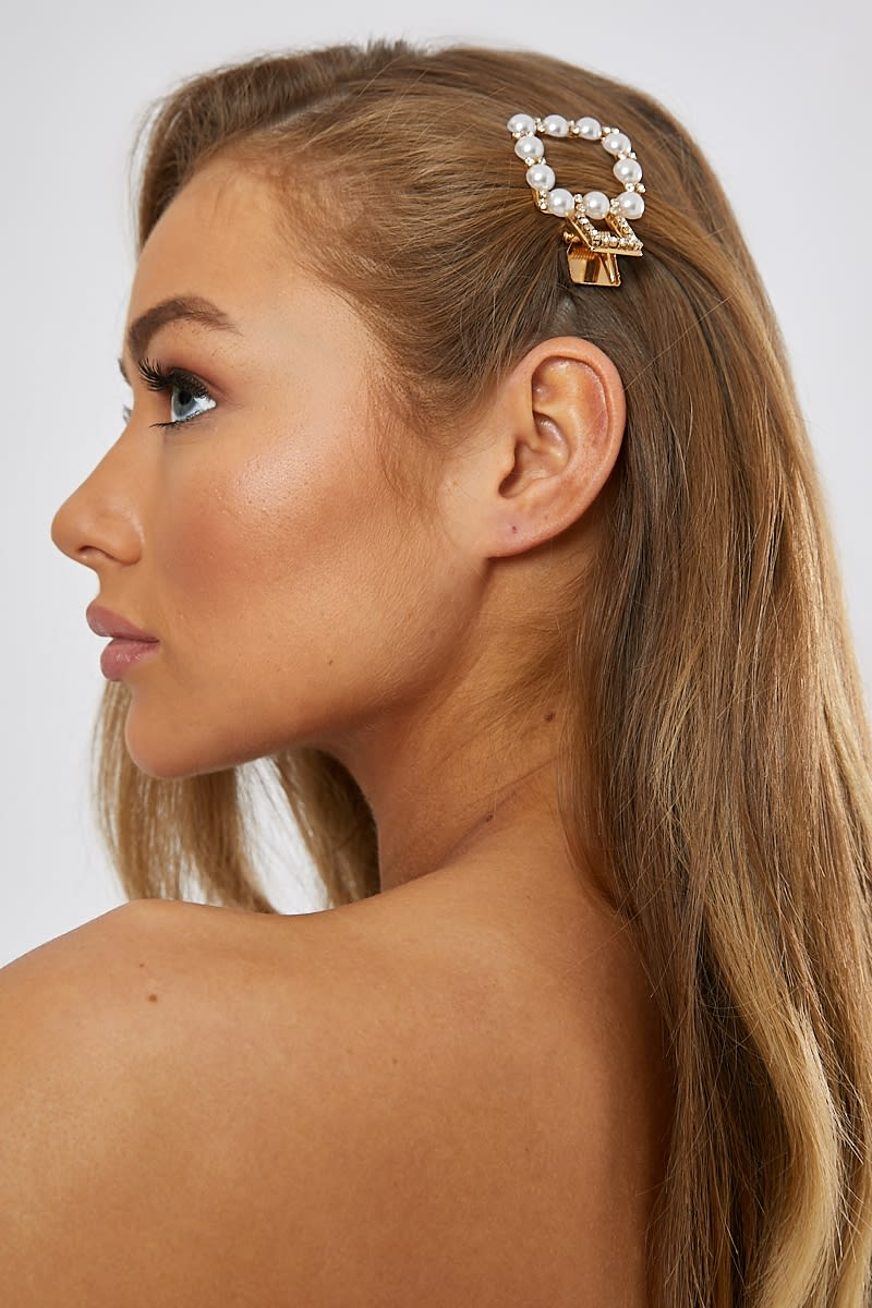 GOLD SQUARE PEARL HAIR SLIDE