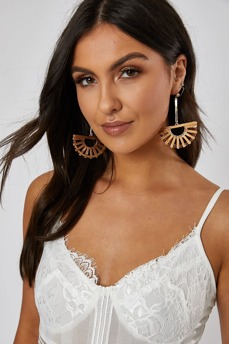 TAN FAN EARRINGS