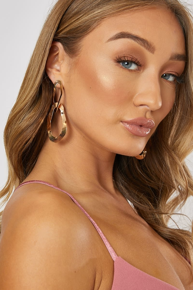 GOLD HAMMERED DOUBLE DROP EARRINGS