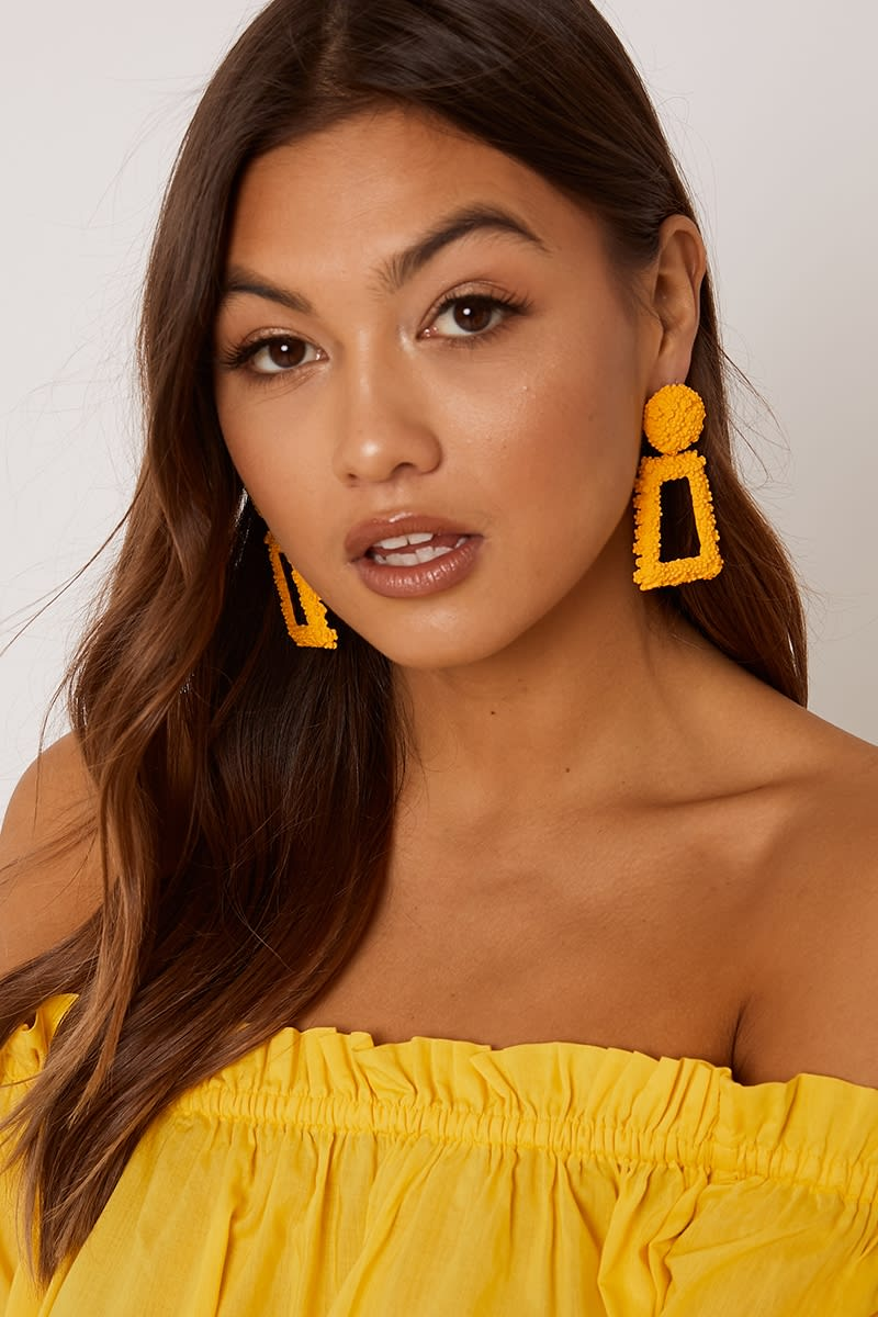 MUSTARD SQUARE DROP EARRINGS