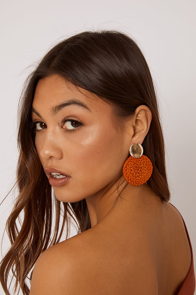 ORANGE WOVEN CIRCLE EARRINGS