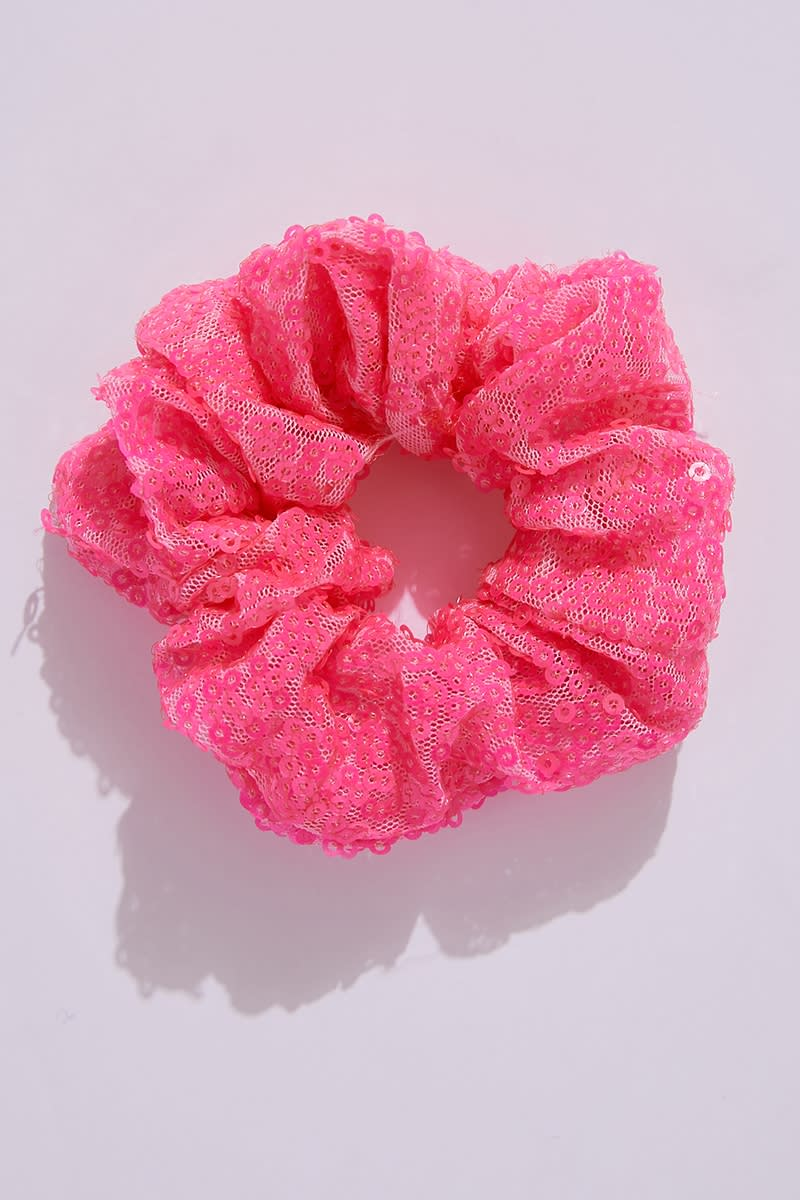 NEON PINK SEQUIN SCRUNCHIE