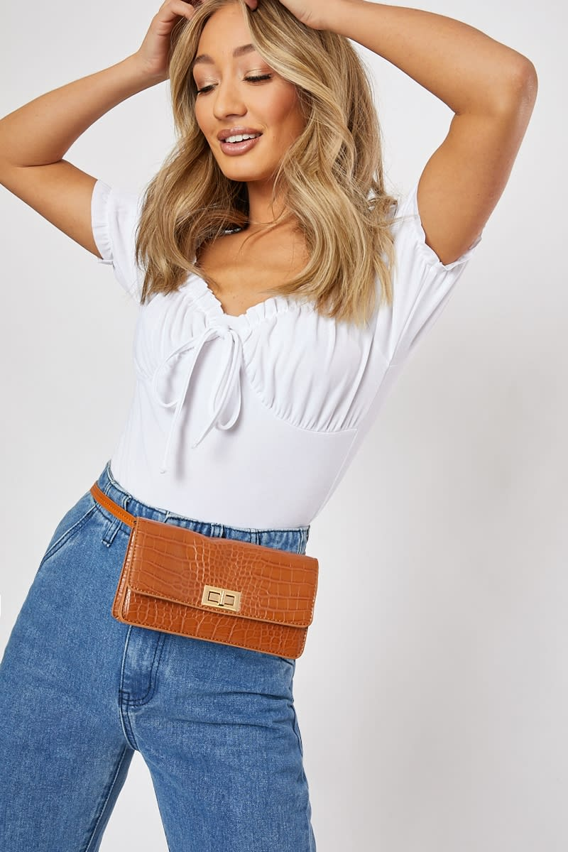 TAN FAUX CROC BELT BAG