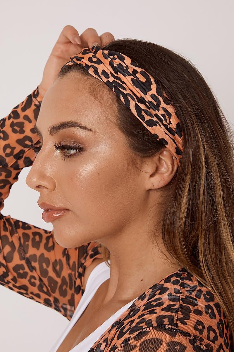 orange leopard headband