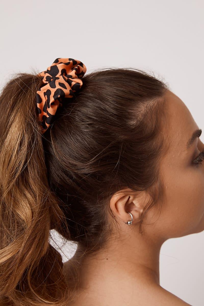 orange leopard scrunchie