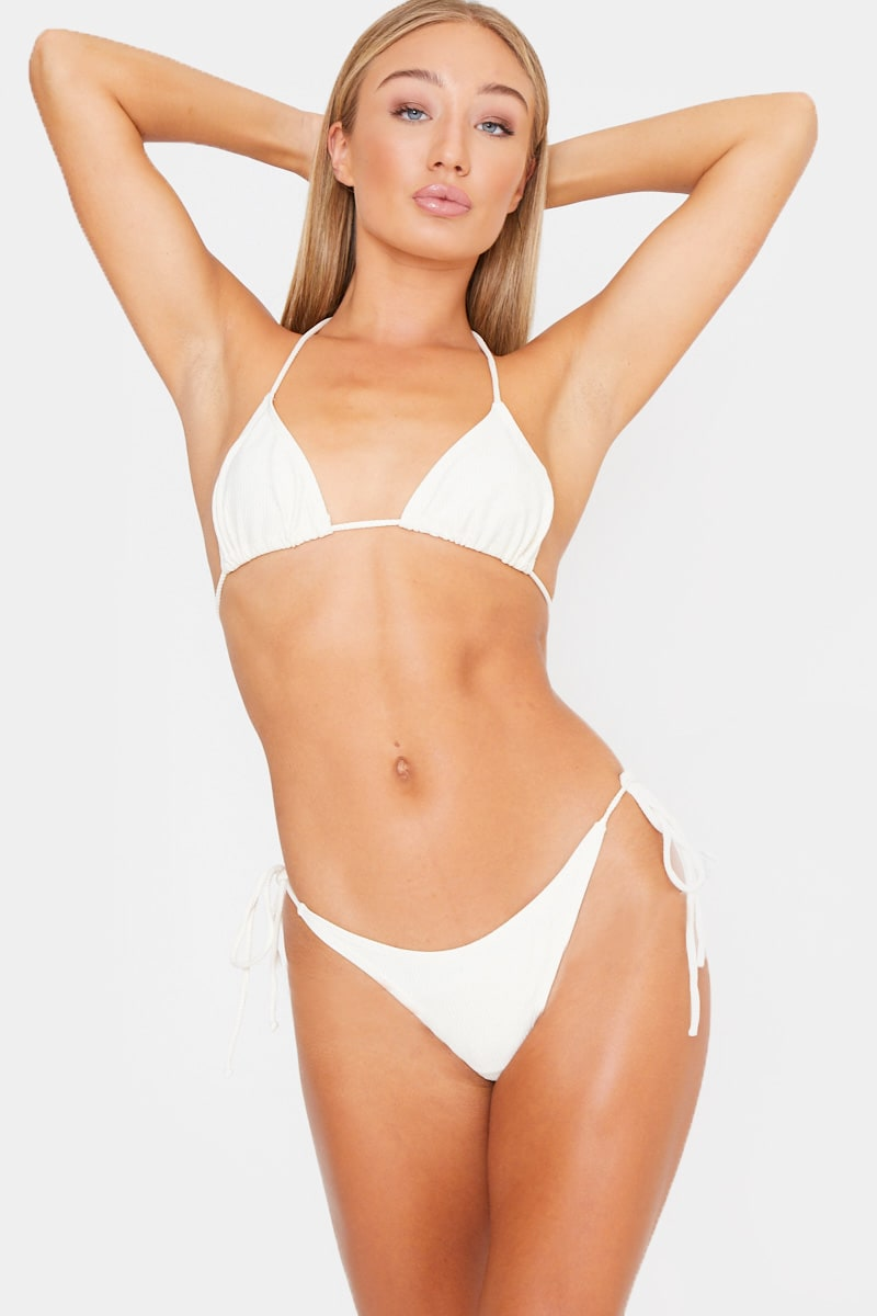 cream ribbed triangle bikini top