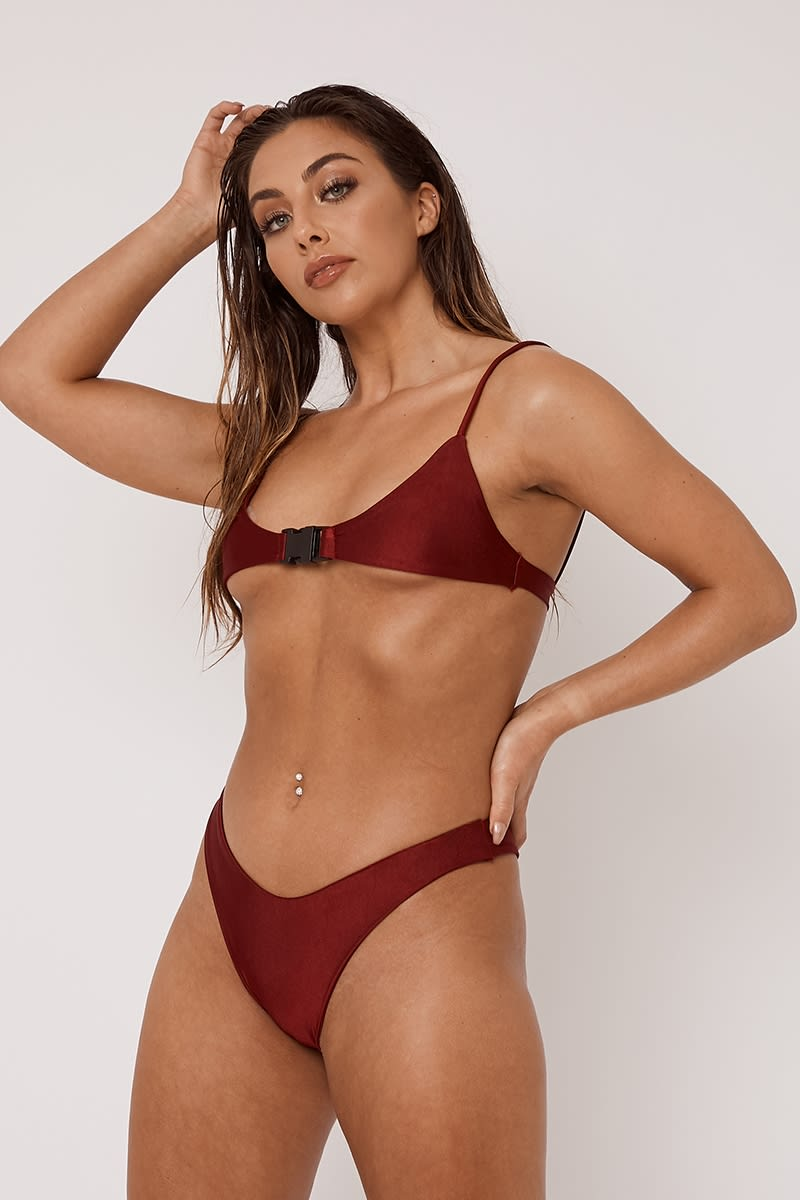 ox blood super high leg micro bikini bottoms