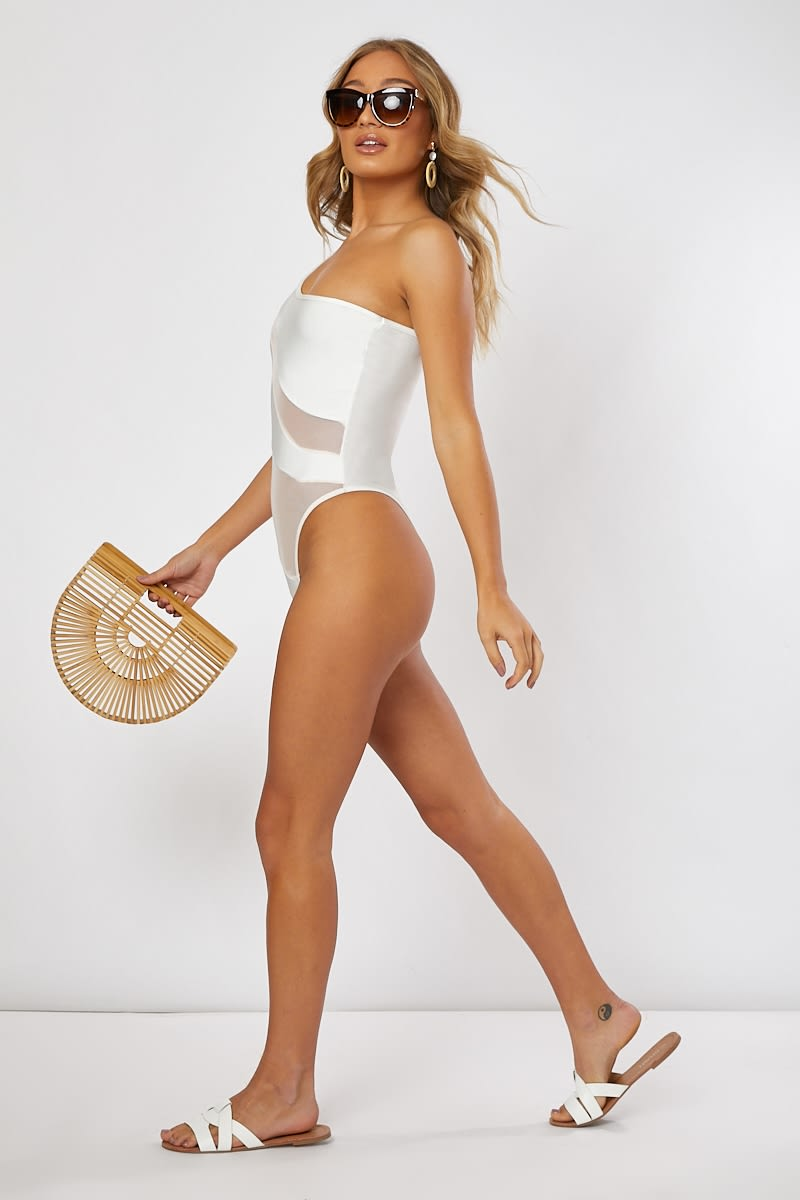 White With Nude Mesh Cut Out Swimsuit | In The Style