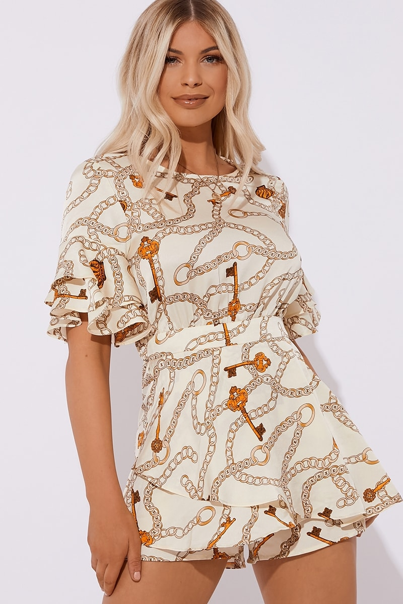cream chain print tie back playsuit
