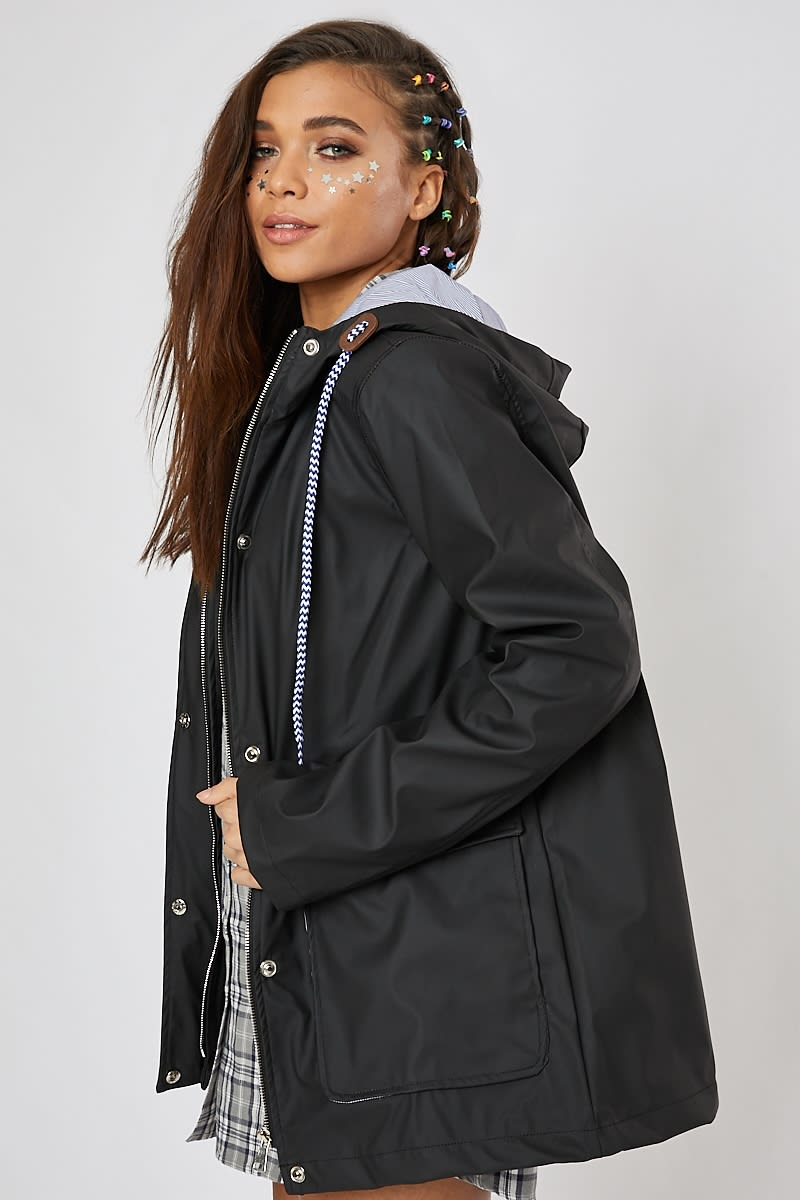THEAH BLACK PU RAIN MAC