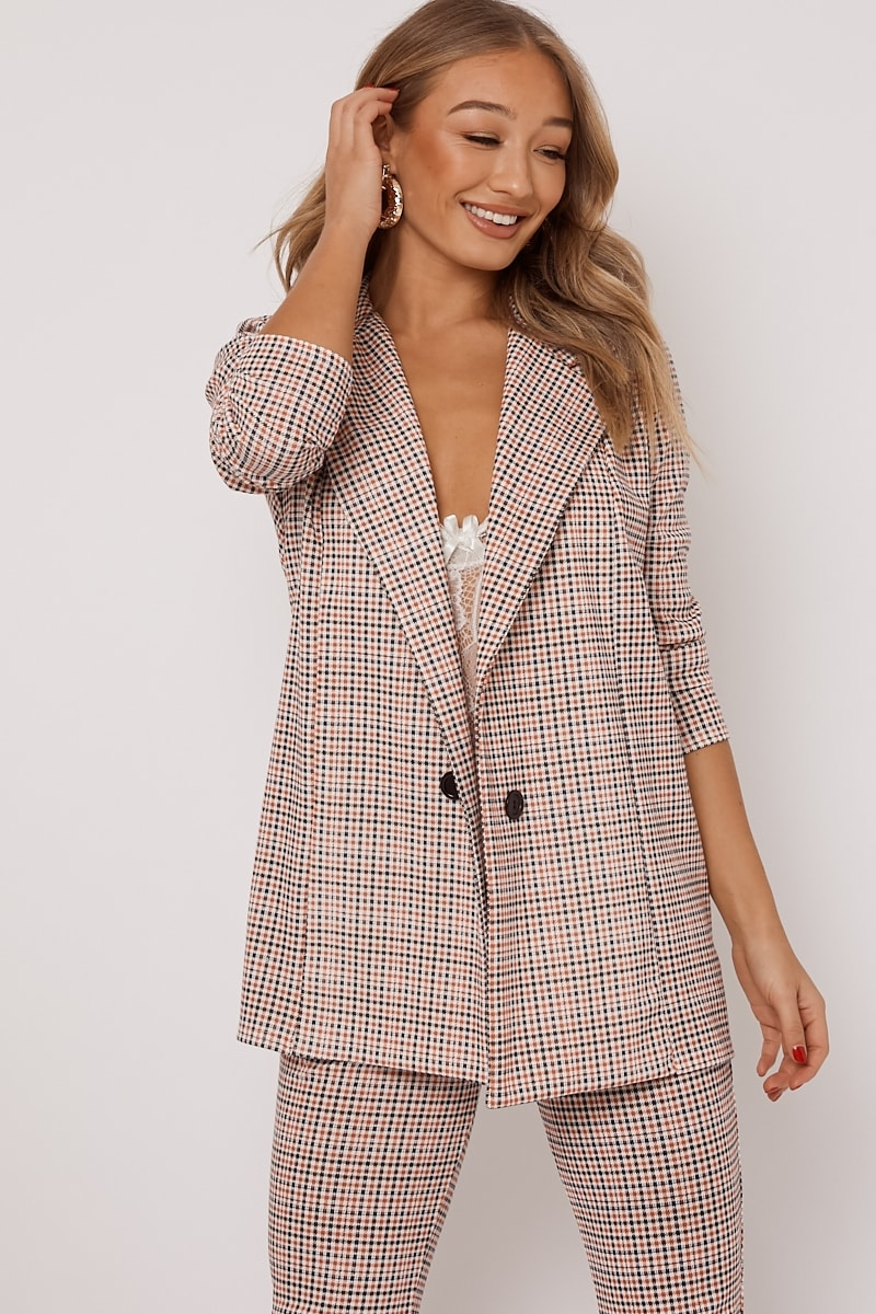 orange dogtooth check co ord blazer