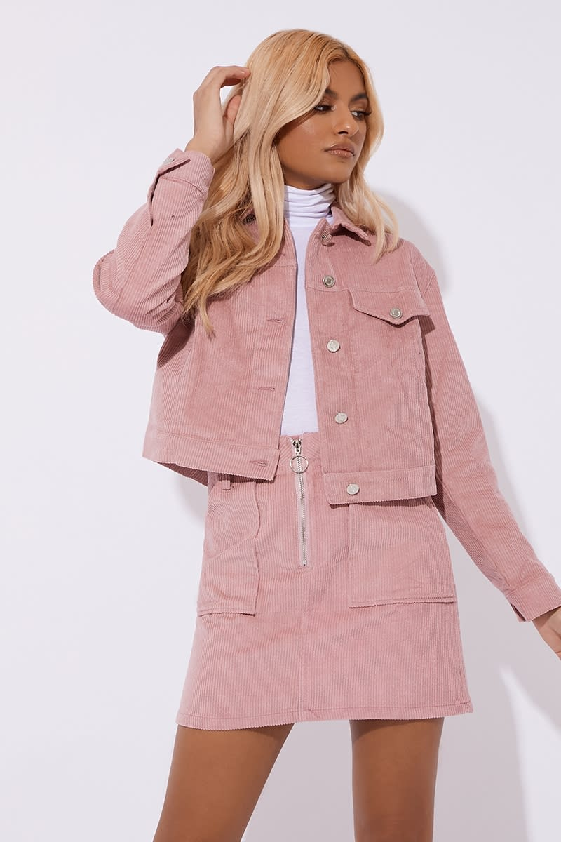 pink cord trucker co-ord jacket