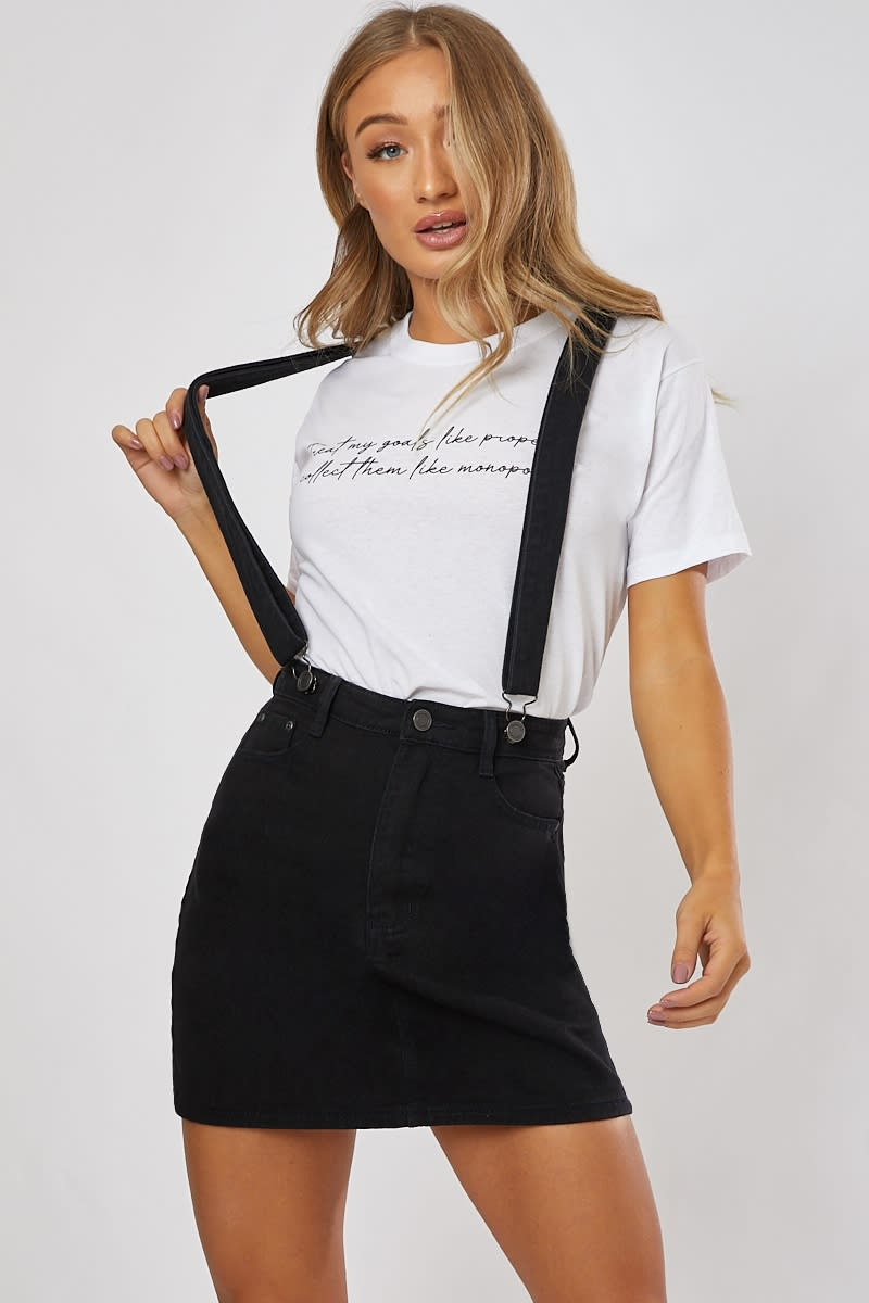 black denim mini skirt dungarees