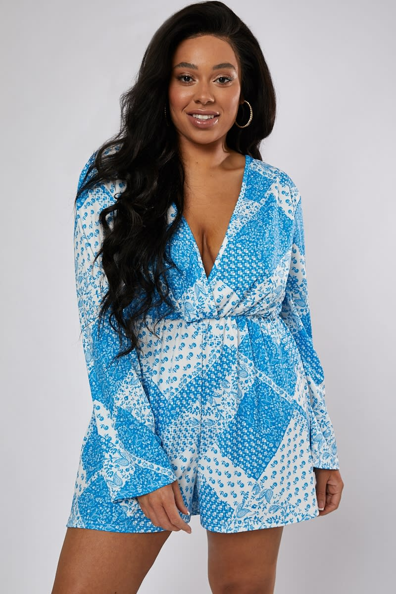 CURVE CHRISTIE BLUE PAISLEY PLAYSUIT