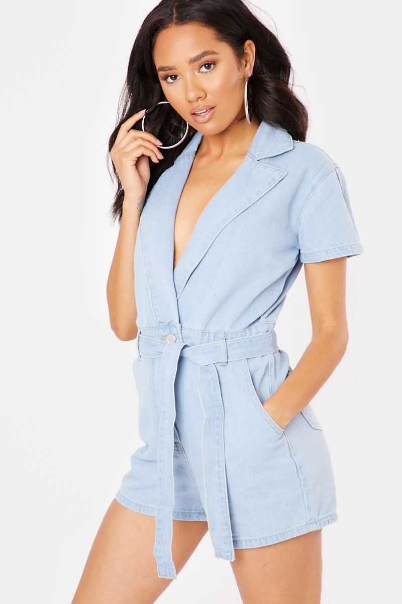 blue washed denim playsuit