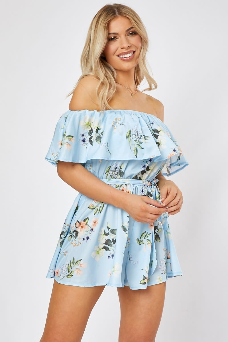 blue floral tie waist frill bardot playsuit